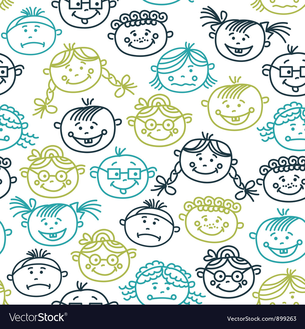seamless pattern of baby cartoon faces royalty free vector