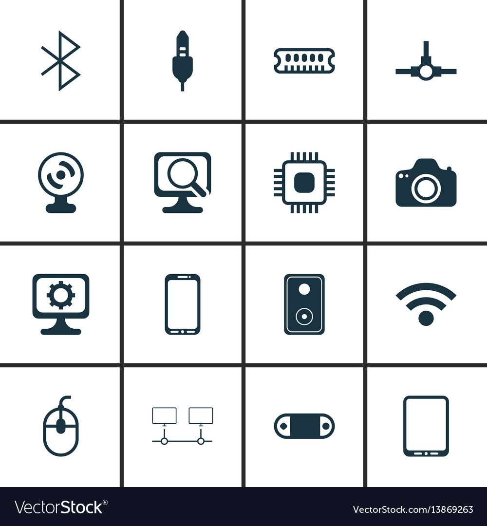 Set of 16 computer hardware icons includes radio
