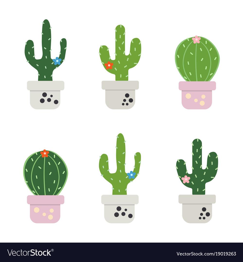 Set of funny cactus