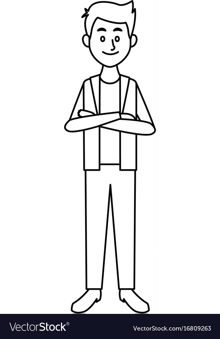 Smiling man in casual clothes folded arms standing