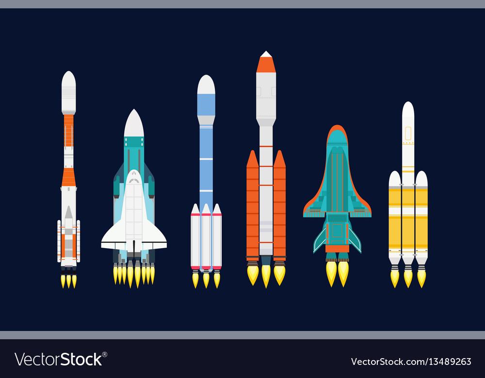 Technology ship rocket cartoon design for