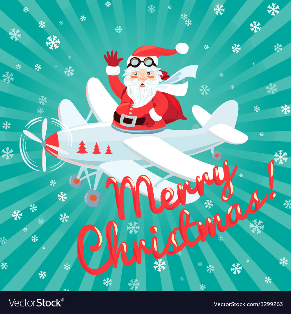 Waving Santa Claus flying on the plane with sack