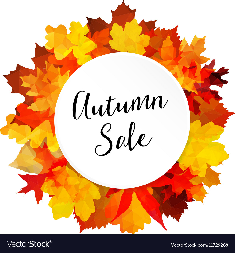 Autumn fall sale banner with colorful leaves