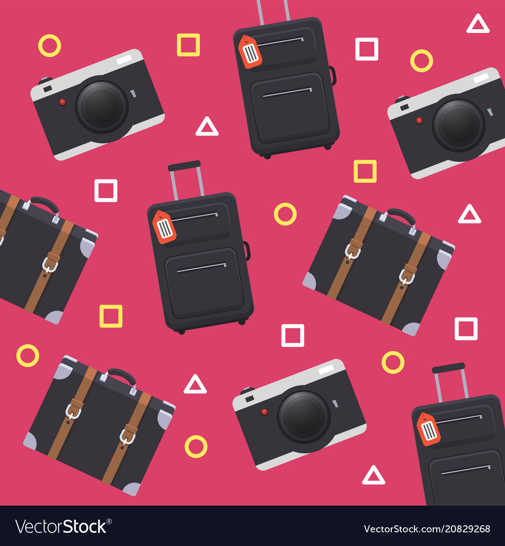 Baggage camera pattern pink background imag