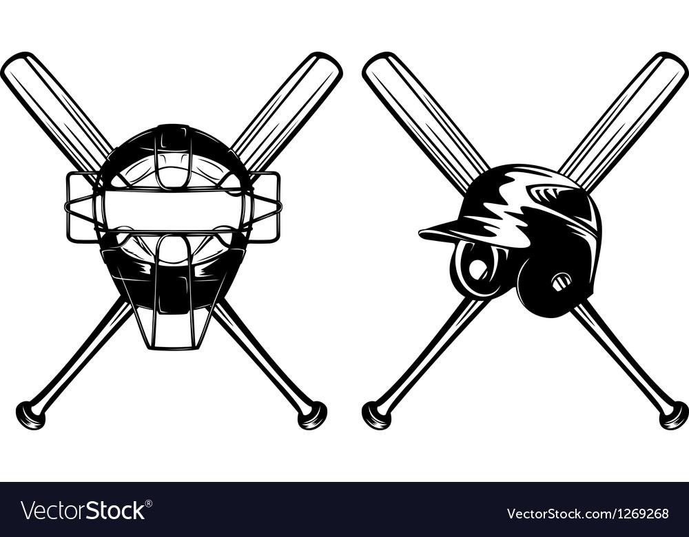 Baseball mask helmet and crossed bat vector image