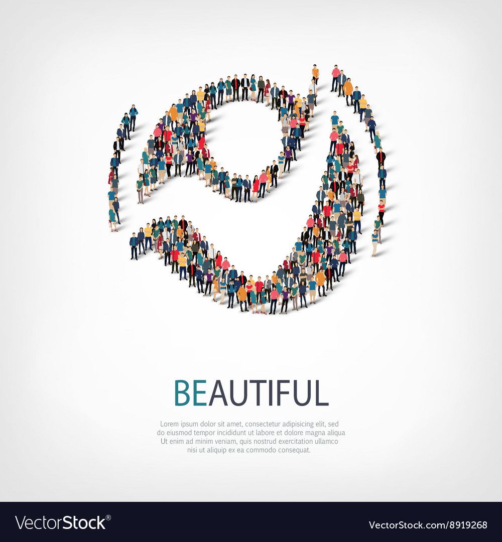 Beautiful people sign 3d vector image