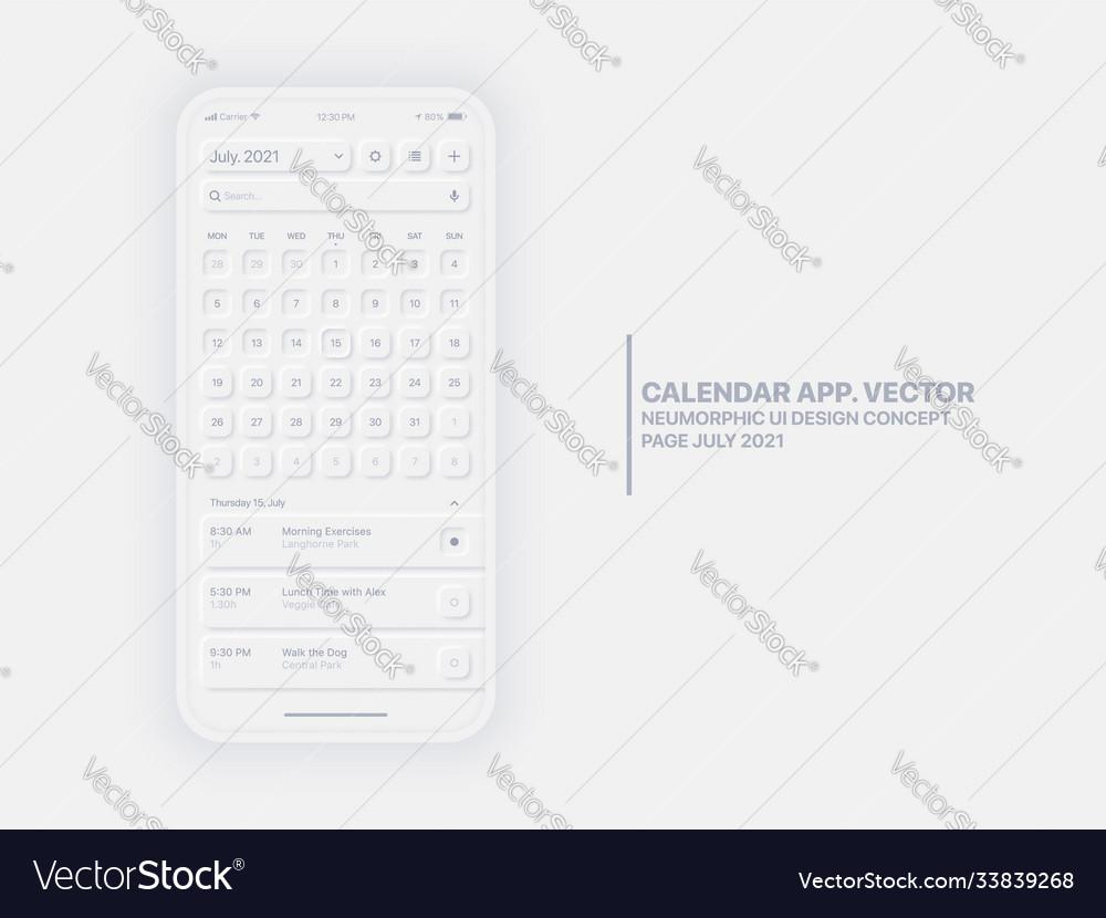 Calendar app july 2021 ui ux neumorphic design Vector Image