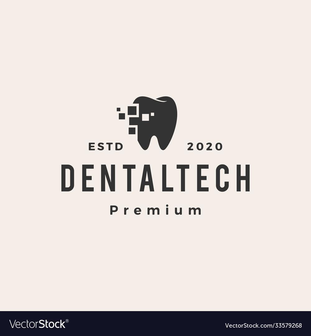 Dental tech hipster vintage logo icon