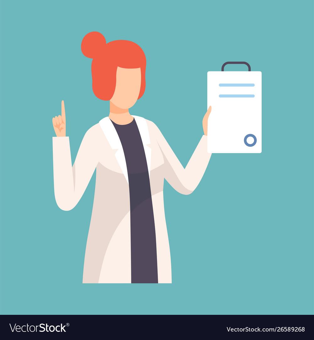 Female doctor raising up her finger giving advice