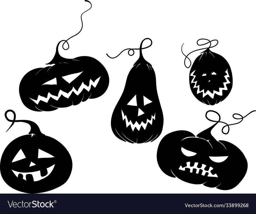 Five black pumkins