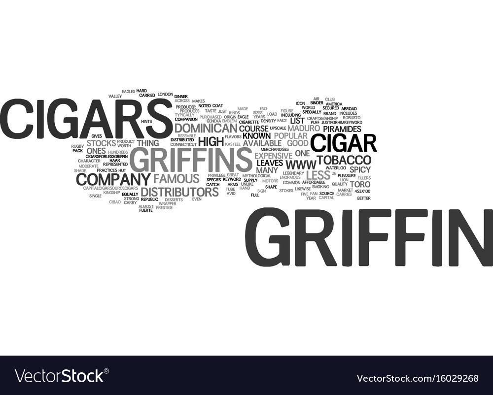 Griffin cigars text background word cloud concept vector image