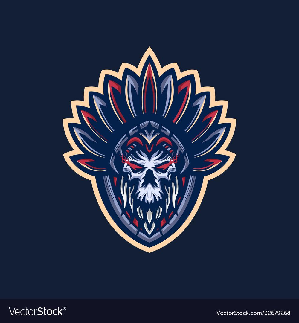 Indian skull mascot logo