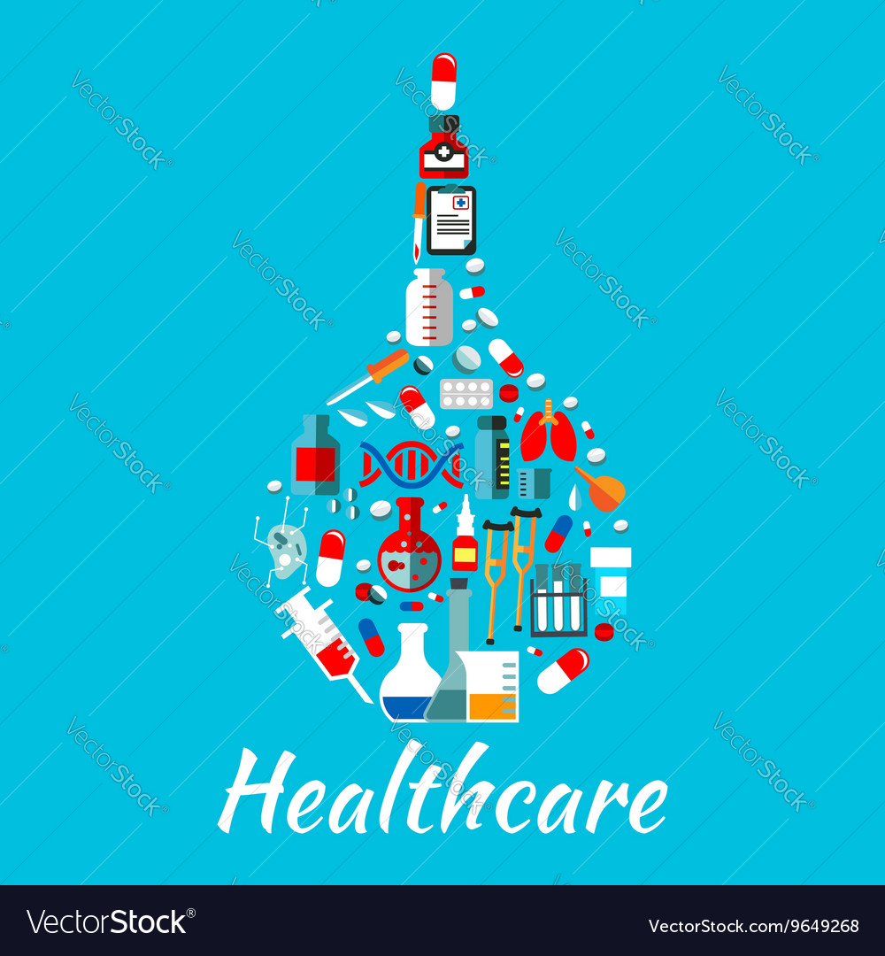 Medical enema symbol with healthcare flat icons