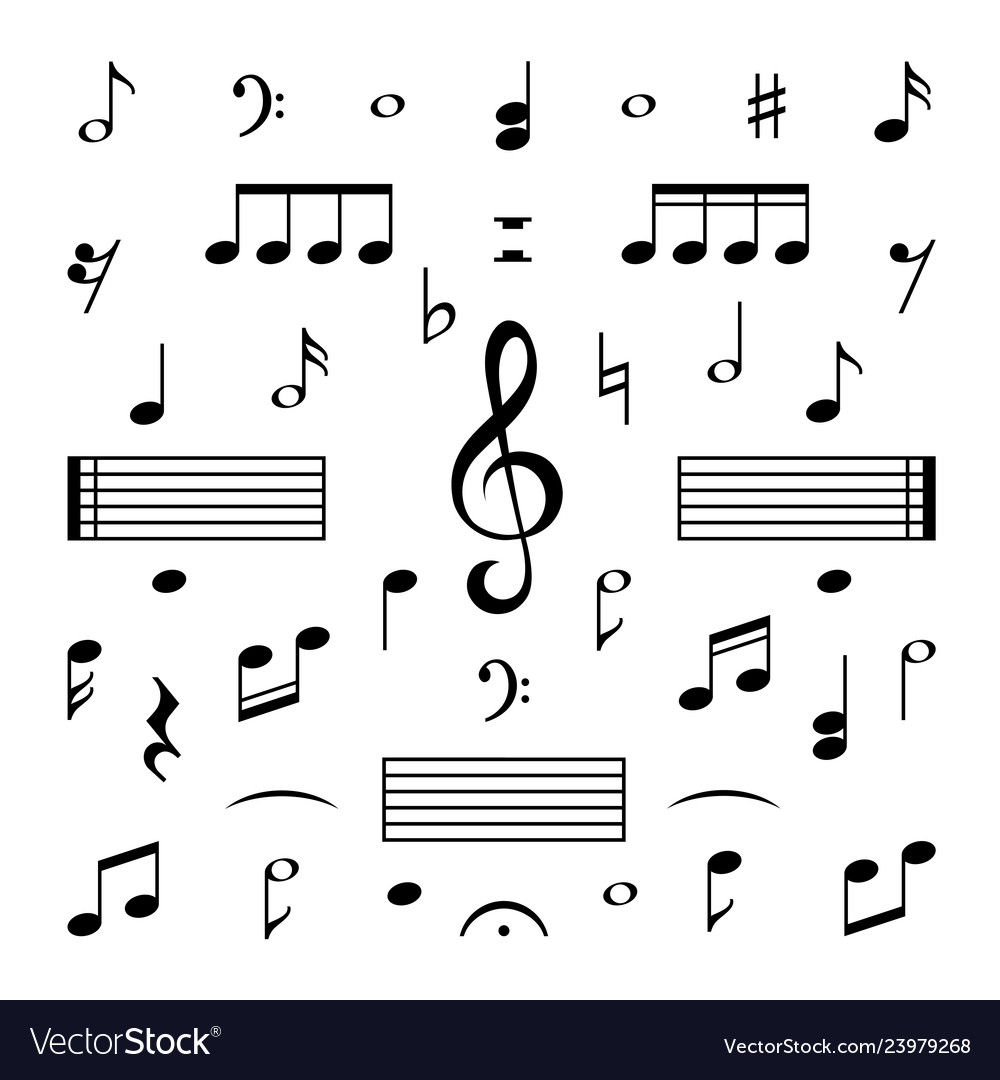 Music Notes Set Musical Note Treble Clef