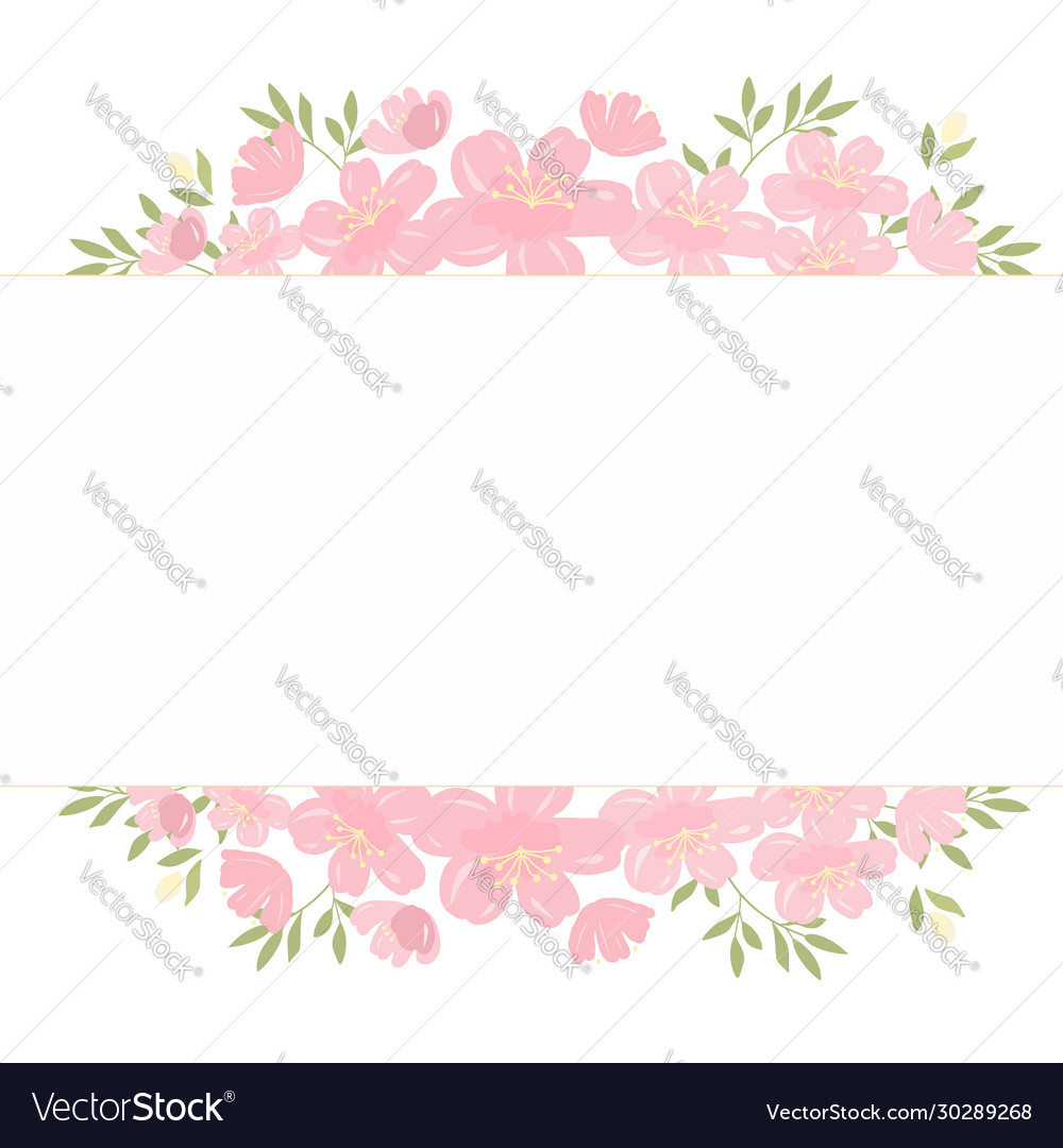 Pink cherry blossom flowers tag with copy space