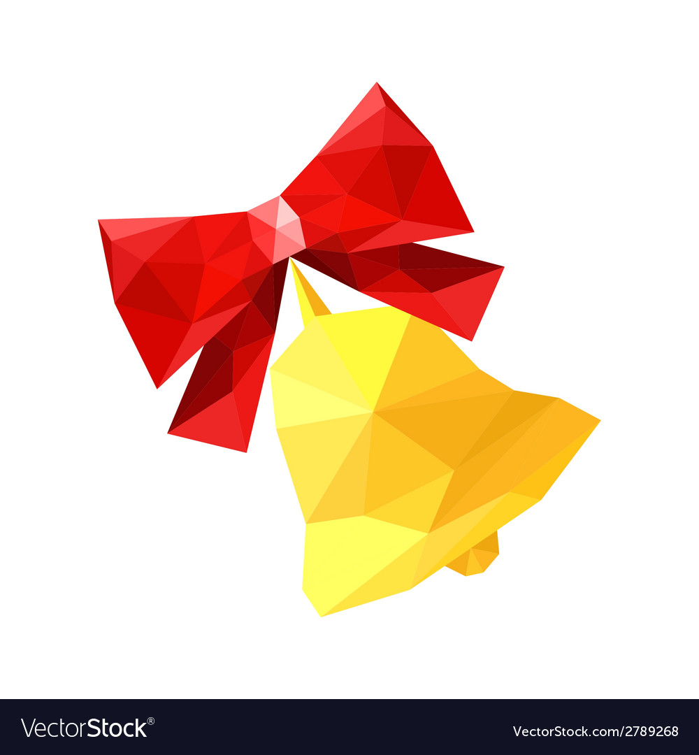 Red Origami Bow With Bell Royalty Free Vector Image
