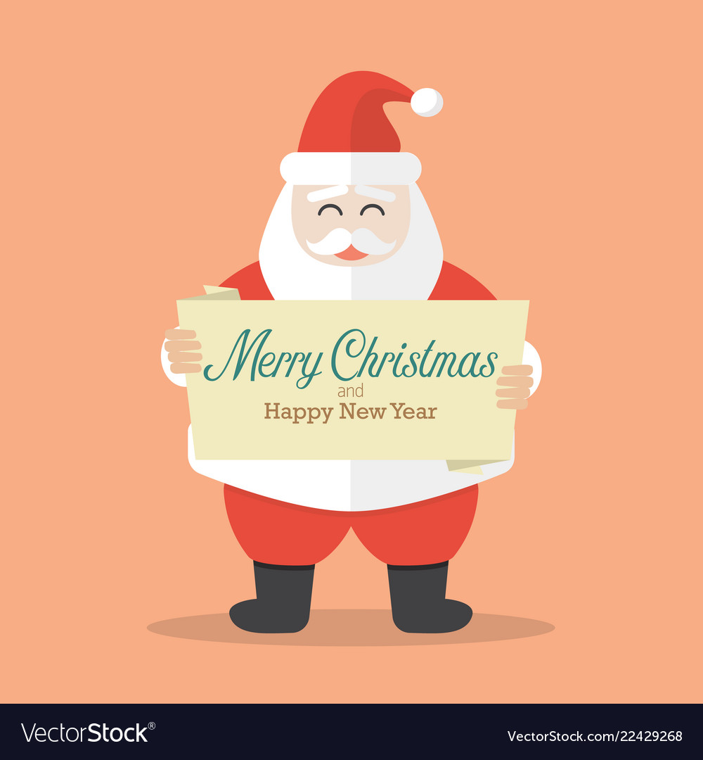 Santa claus is holding merry christmas and happy