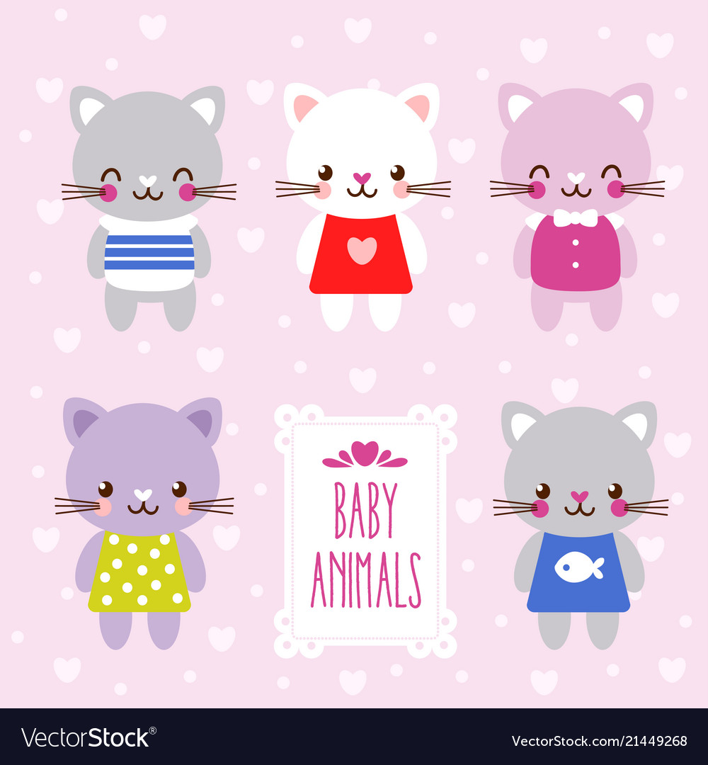 Set with cute kittens in cartoon style