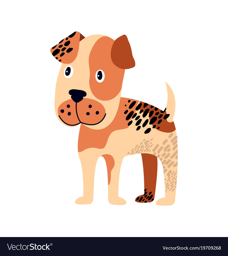 Spotted dog of brown color on