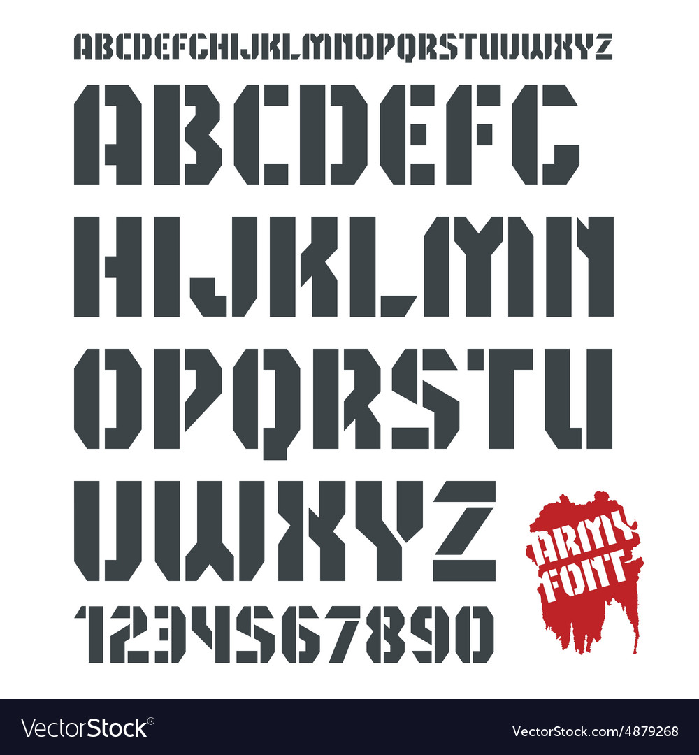 Stencil plate military font and numeral