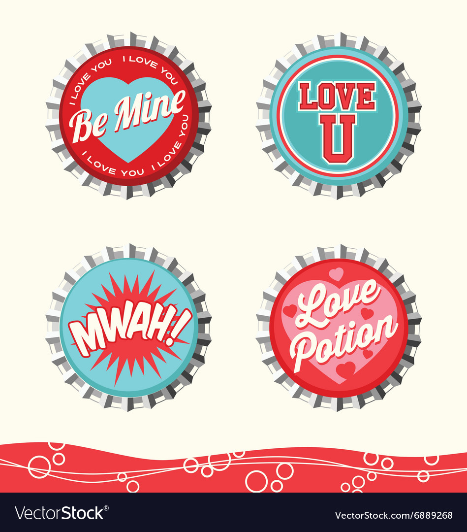 Valentine Bottle Caps 2 Royalty Free Vector Image