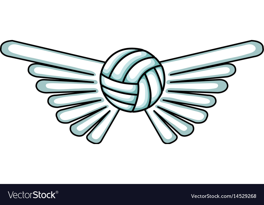 Volleyball balloon with wings isolated icon