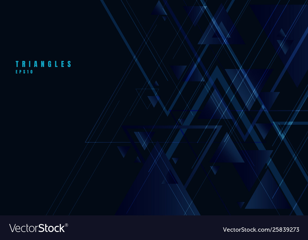 Abstract blue triangles shape and lines on black