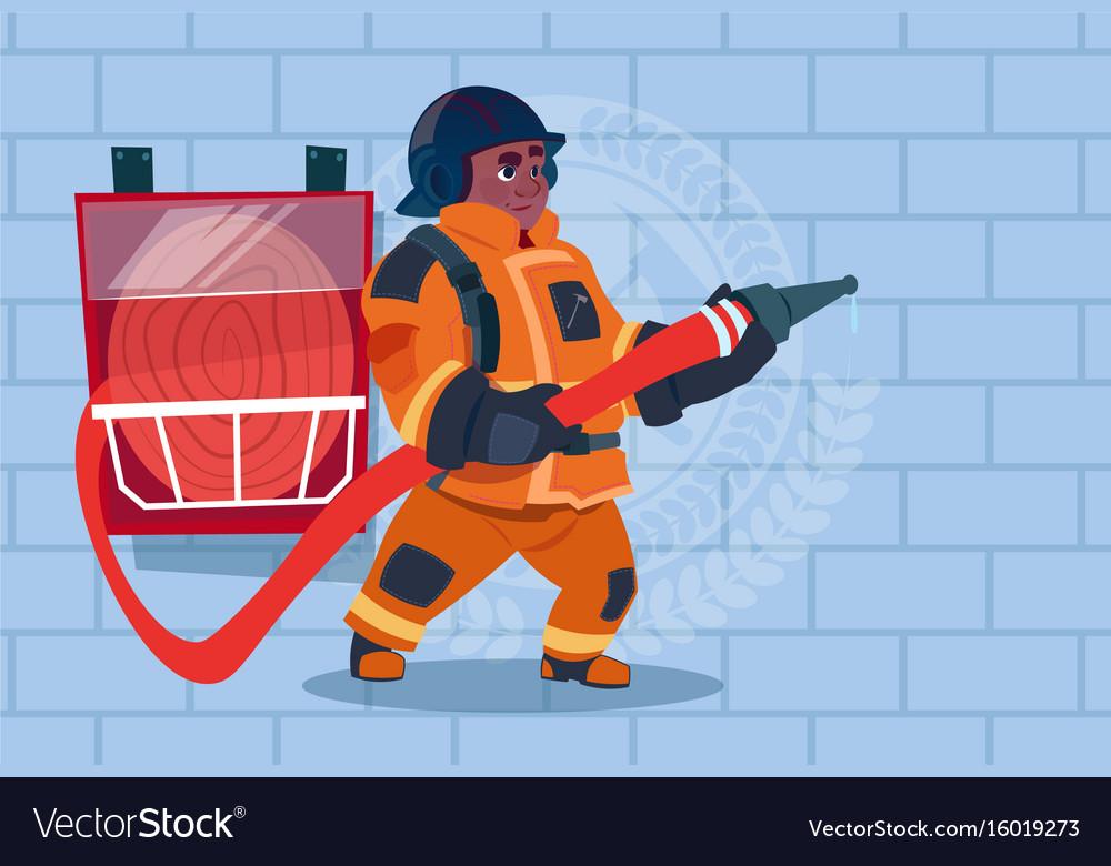 African american fireman hear alarm wearing vector image