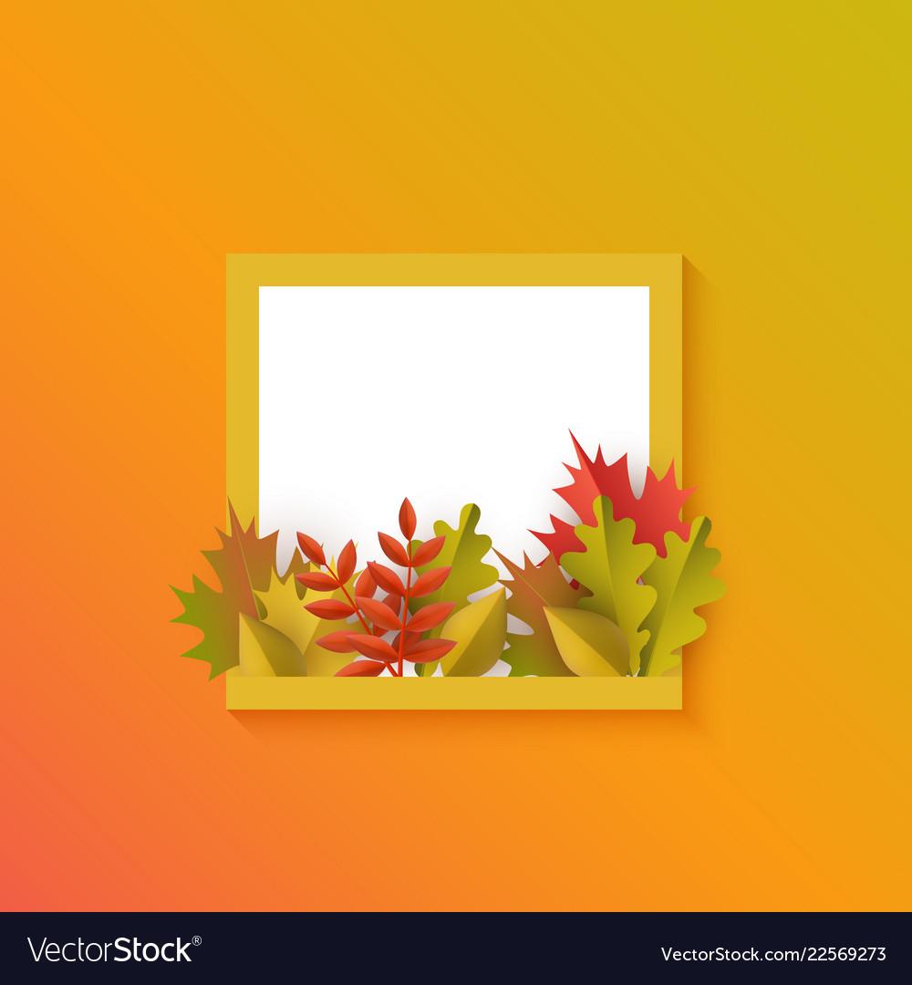 Autumn leaves pumpkin square frame