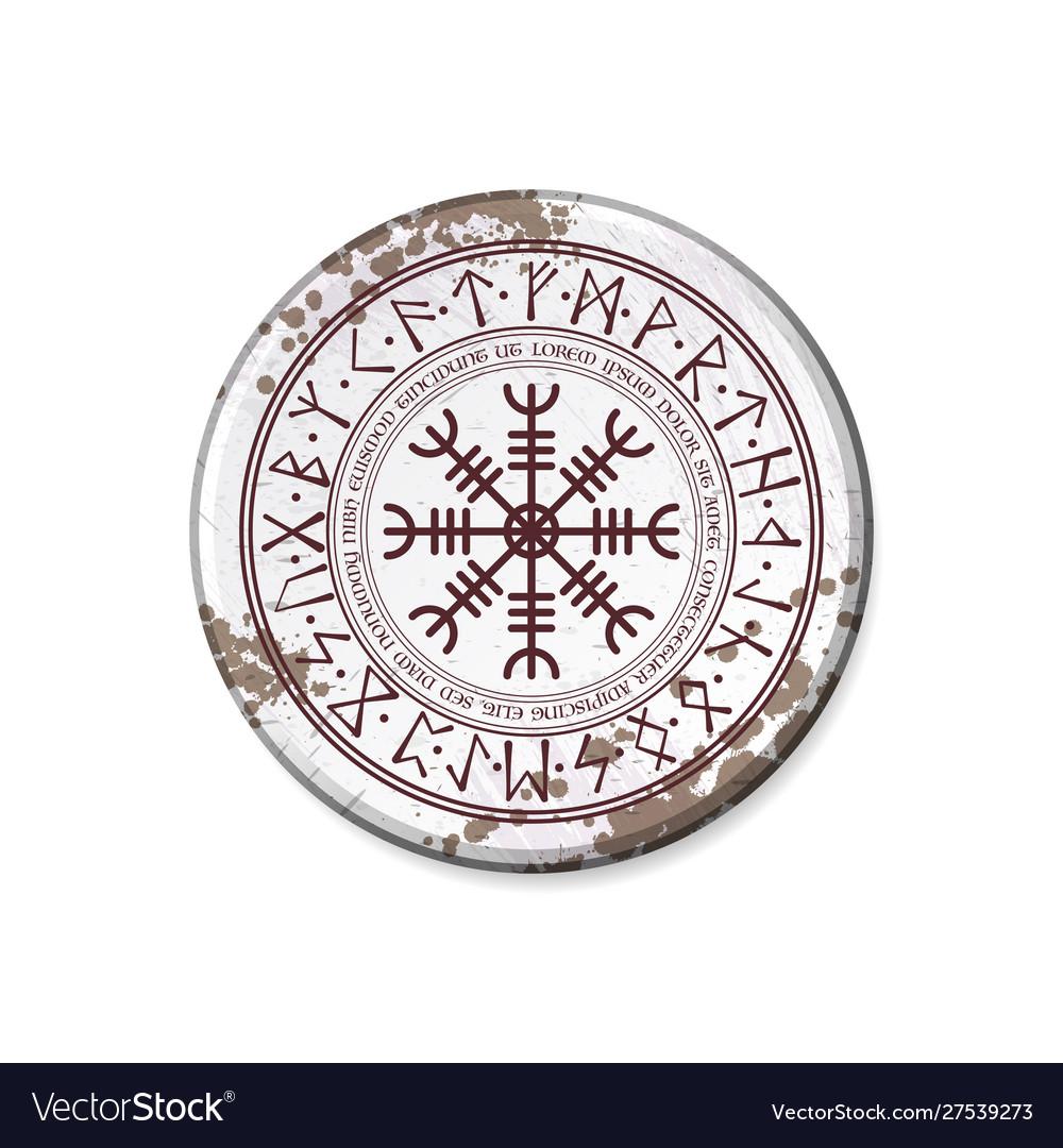 Circle nameplate with runic symbol