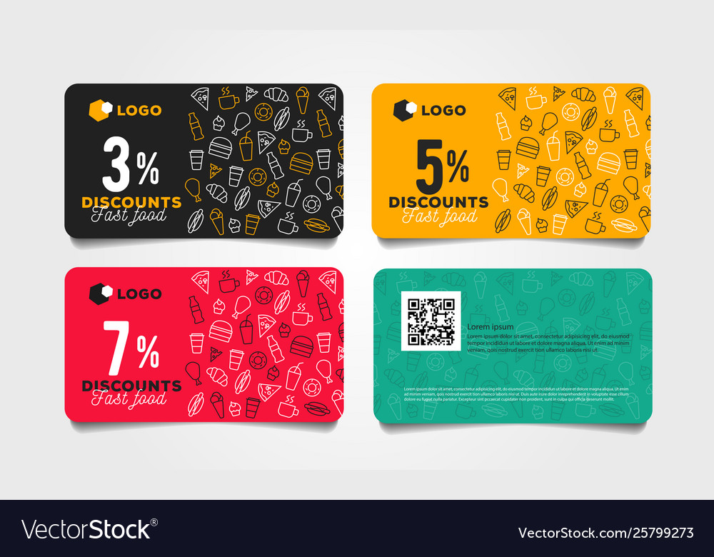 discount card or voucher fast food template design