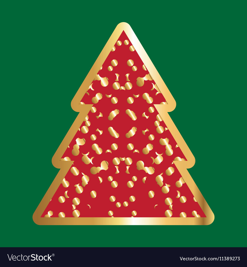 gold and red christmas tree icon vector image - Gold And Red Christmas Tree