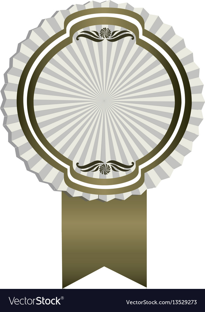 Gray emblem with ribbon decoration icon vector image