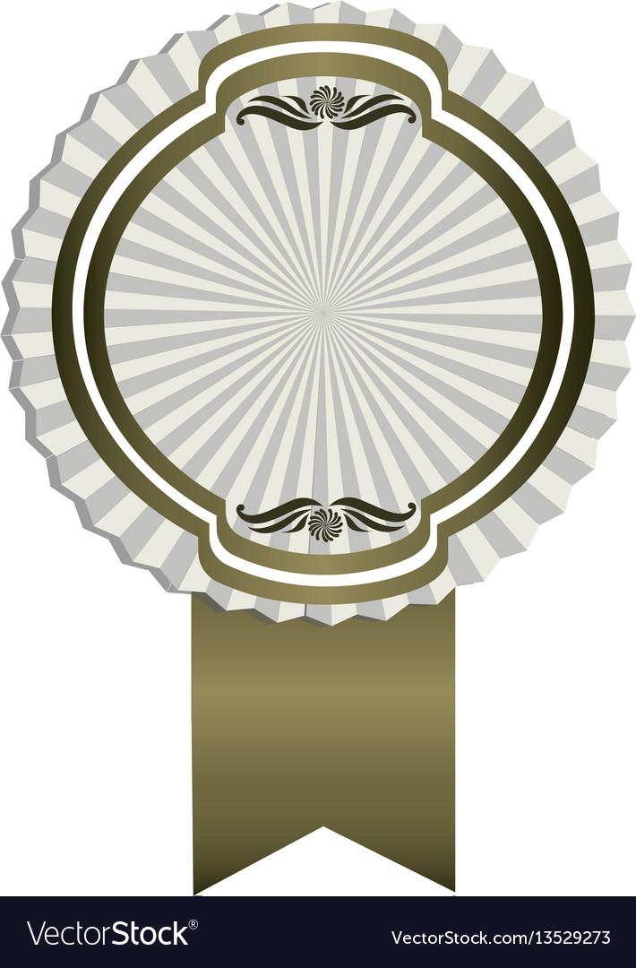 Gray emblem with ribbon decoration icon
