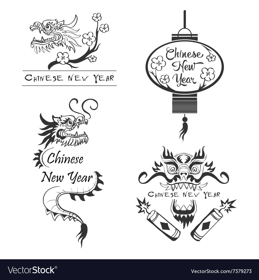 happy new year 2016 chinese symbols vector image
