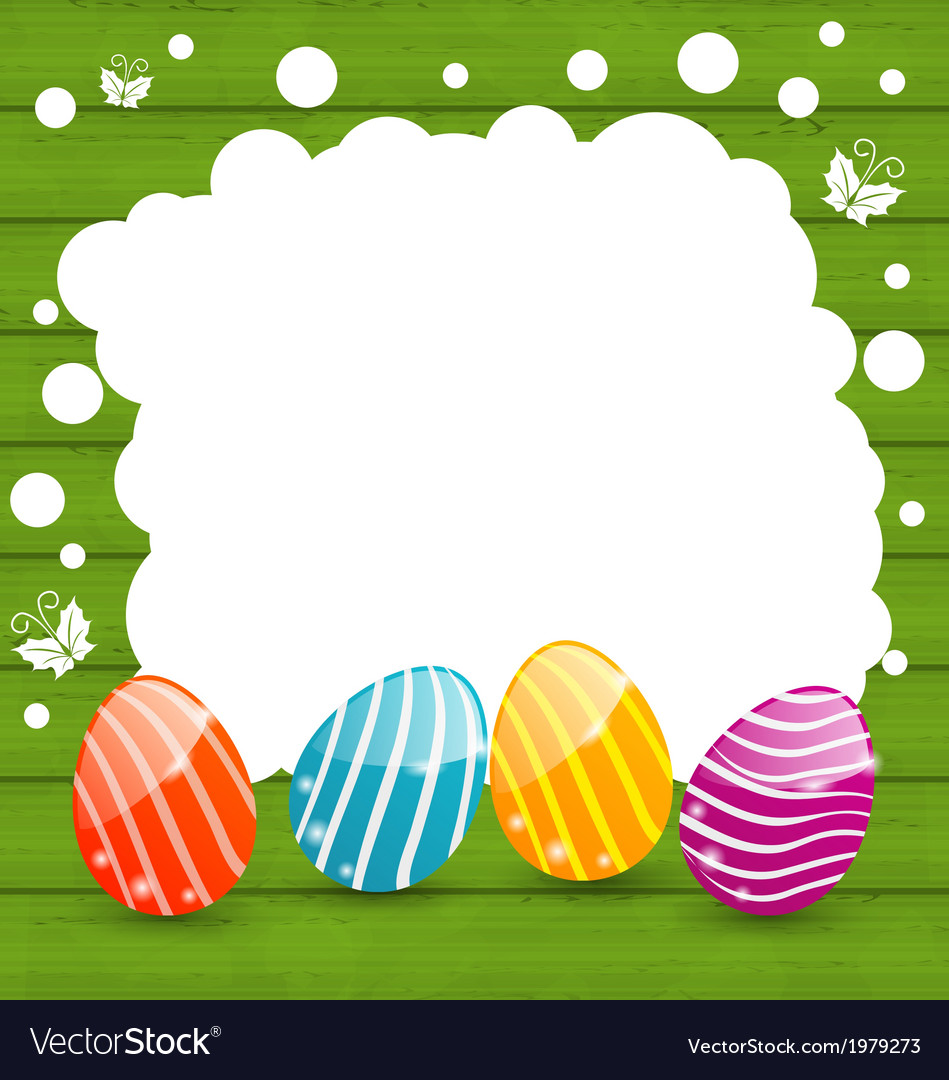 Holiday card with Easter colorful eggs vector image