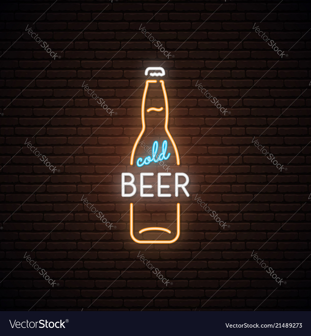 Neon sign of cold beer neon beer bottles emblem