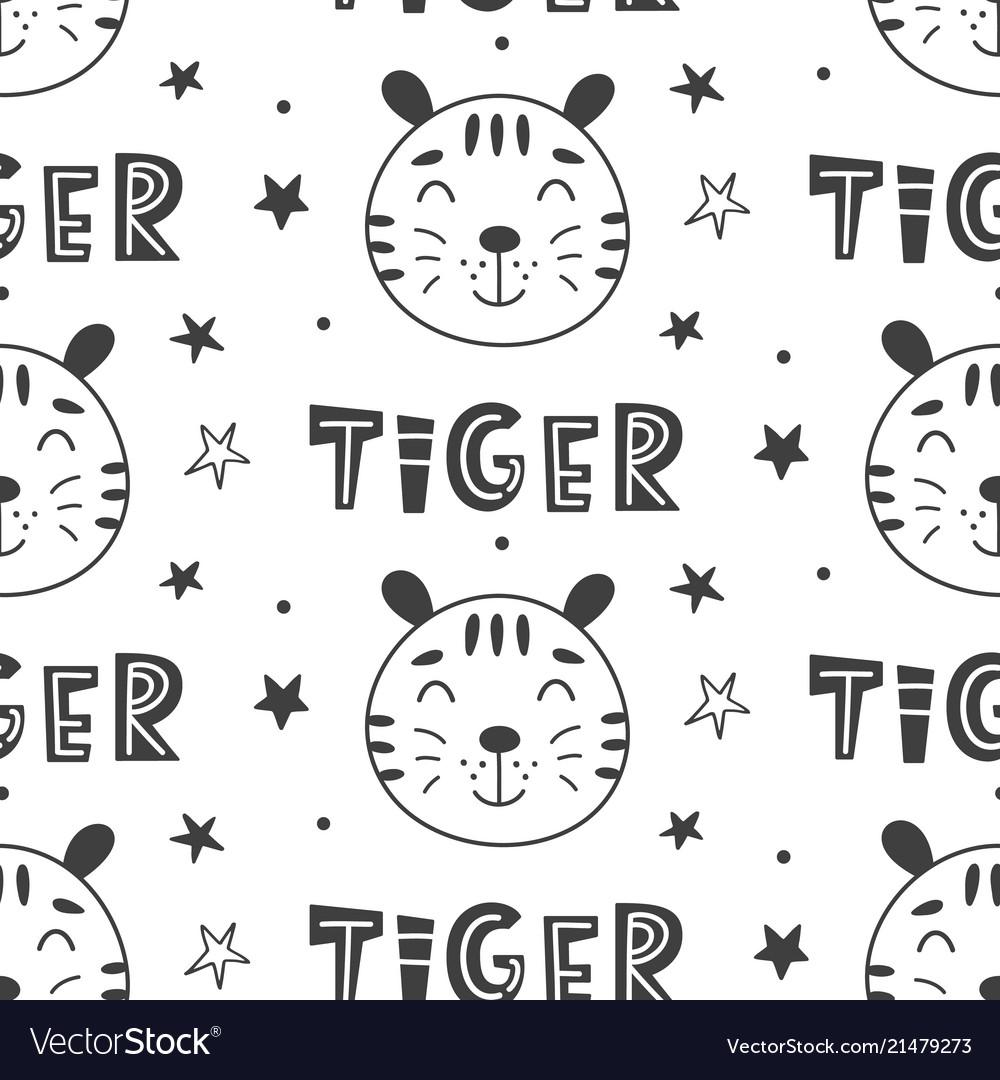 Nursery tigers kids seamless pattern background