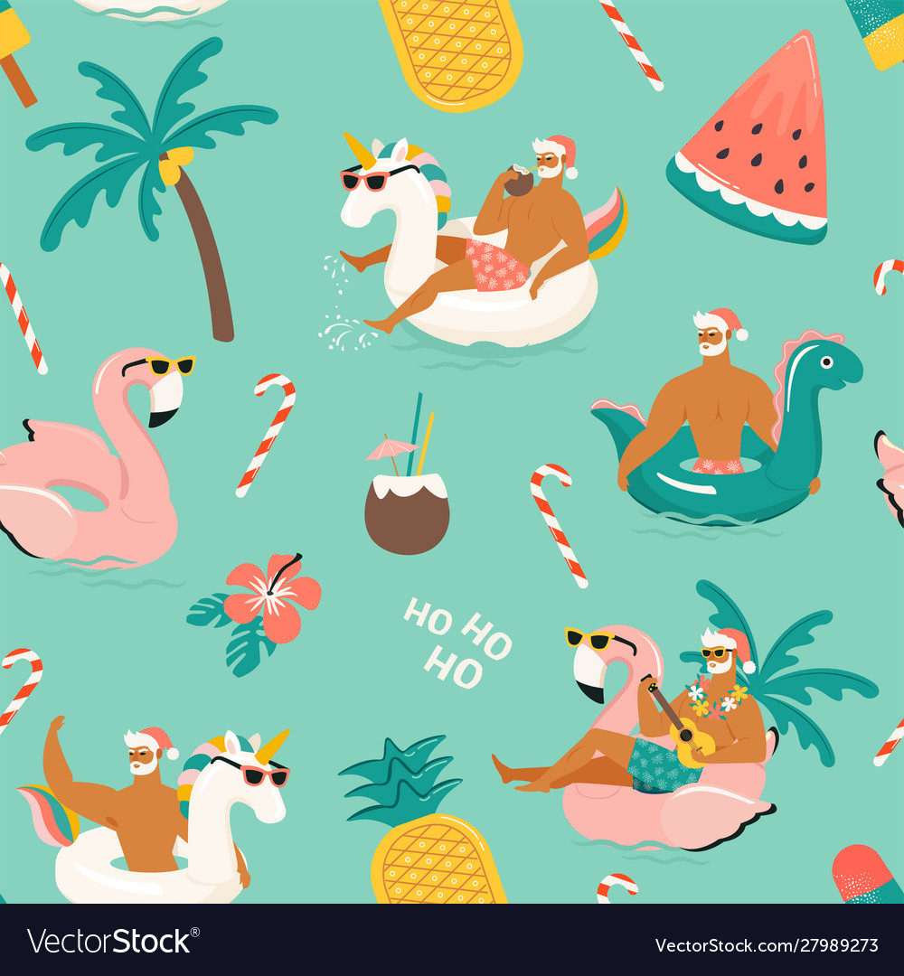 Tropical hot christmas seamless pattern with cute
