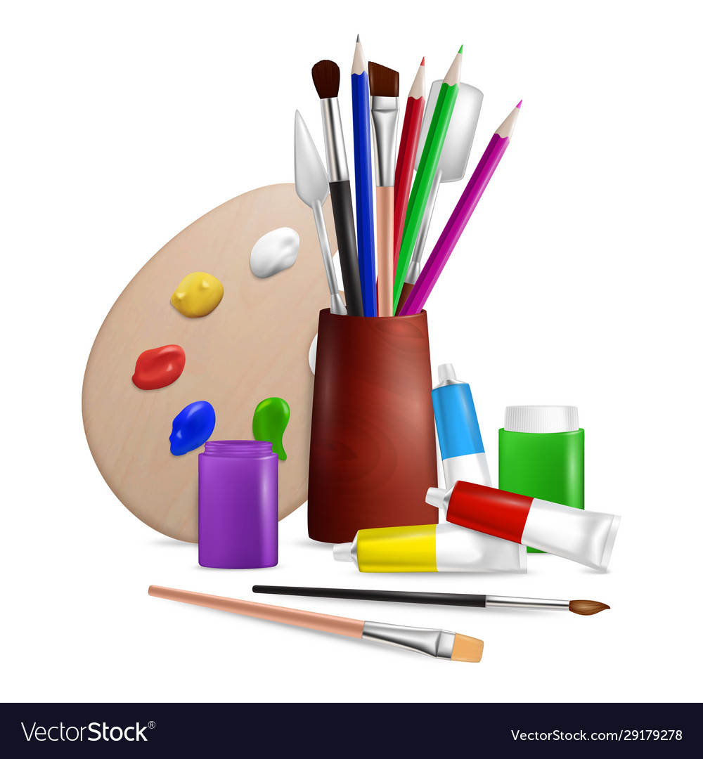 Artist palette with art tools and supplies