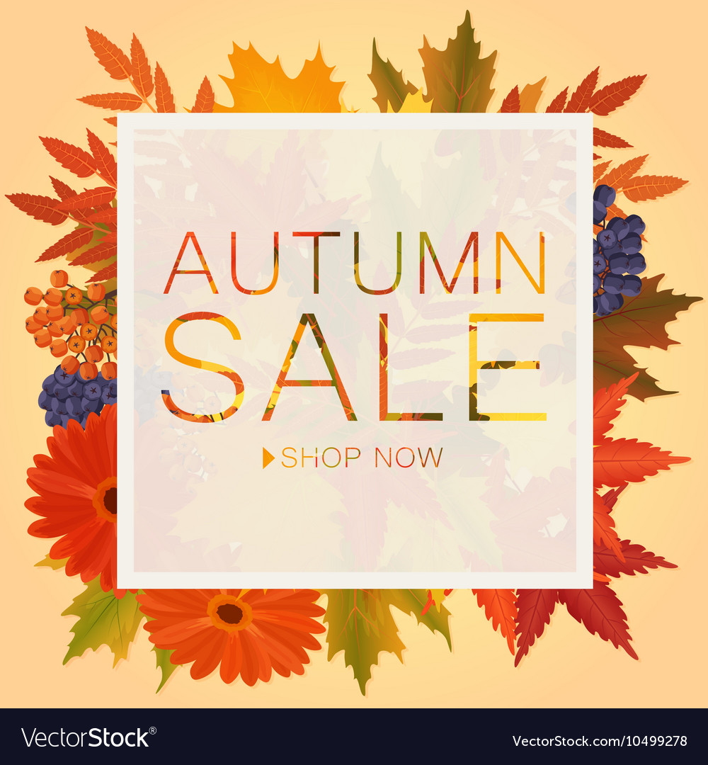 Autumn sale discount banner Poster with golden