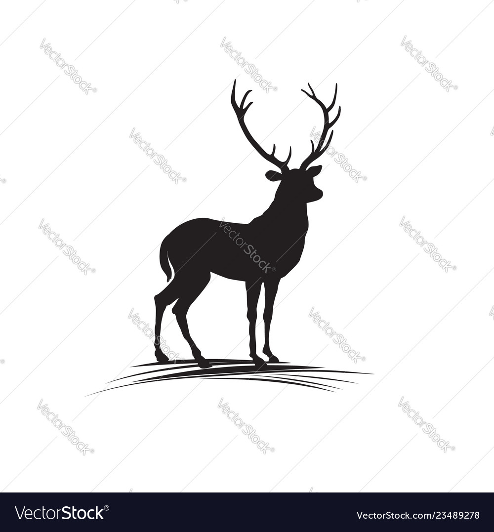 Deer silhouette wild animal reindeer drawn logo