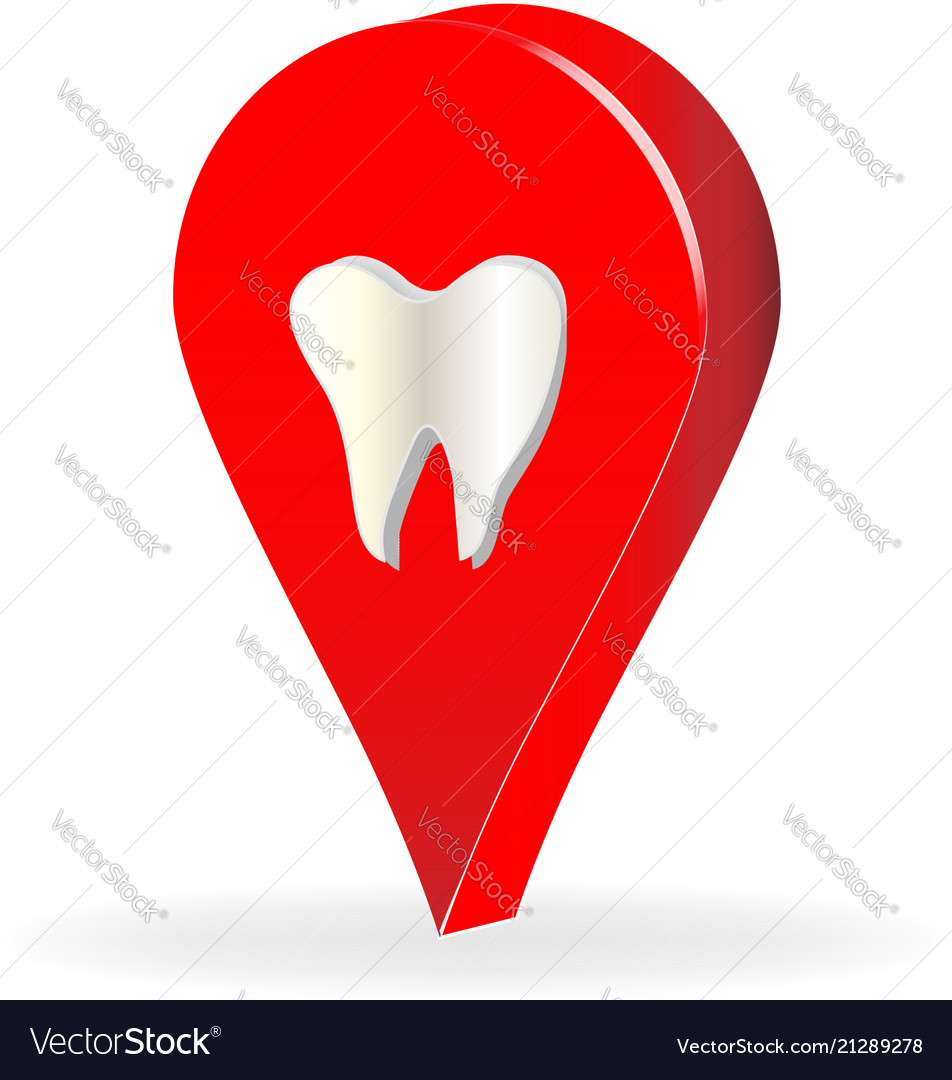 Dentist tooth business location icon