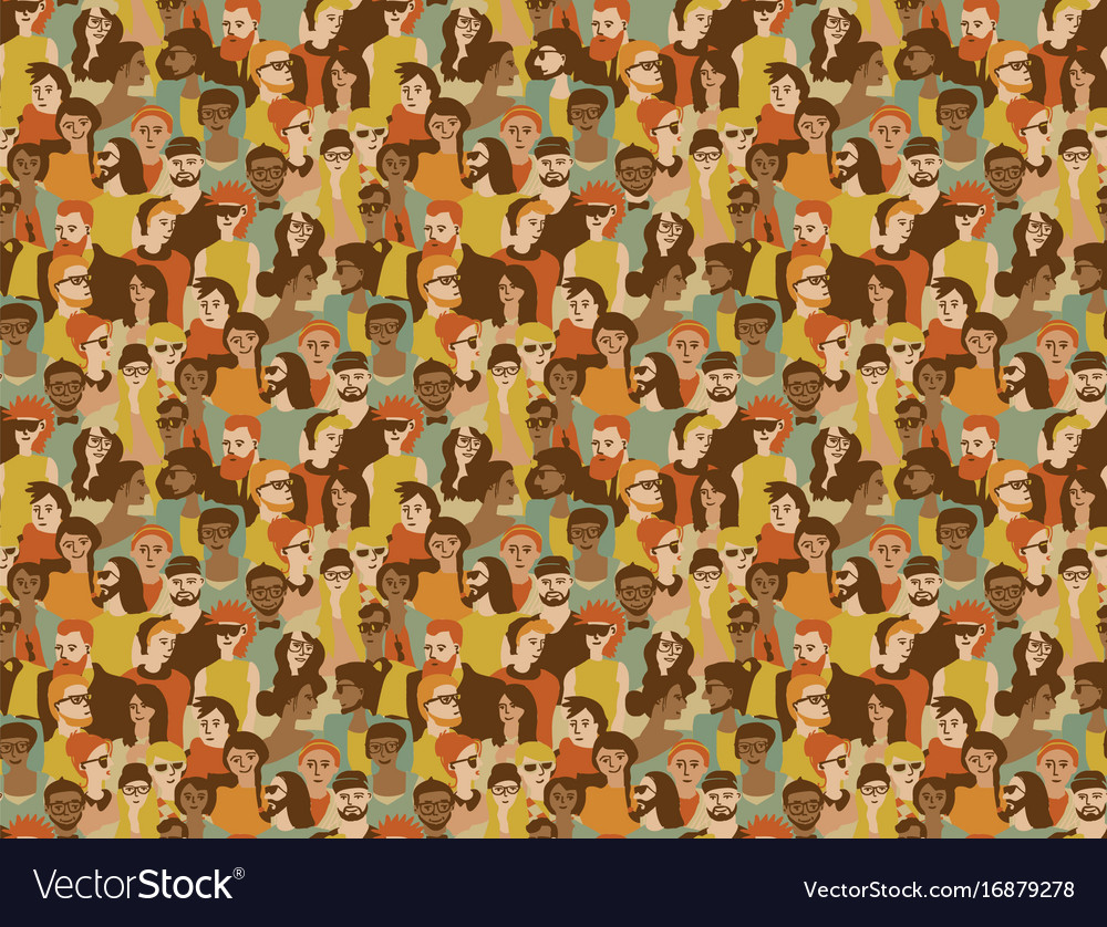 Different people crowd seamless pattern