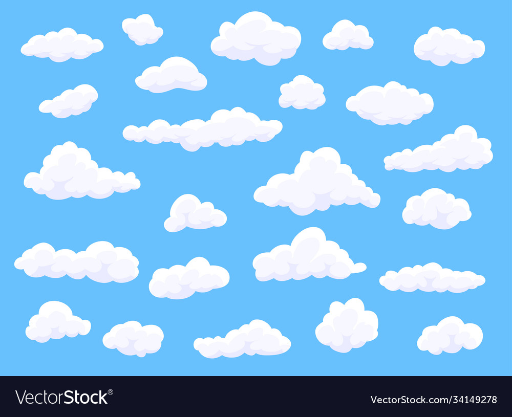 Different shape cartoon white clouds on blue
