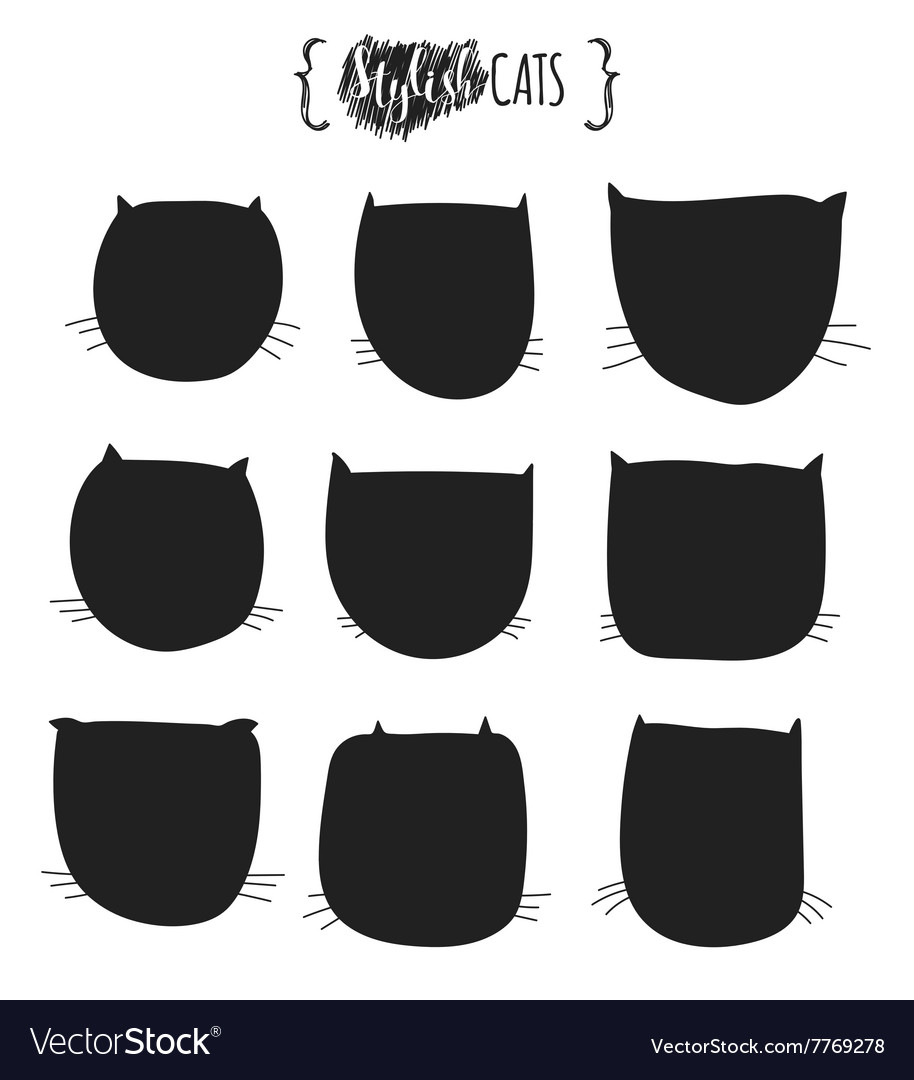 Doodle silhouettes of cats Muzzle cat