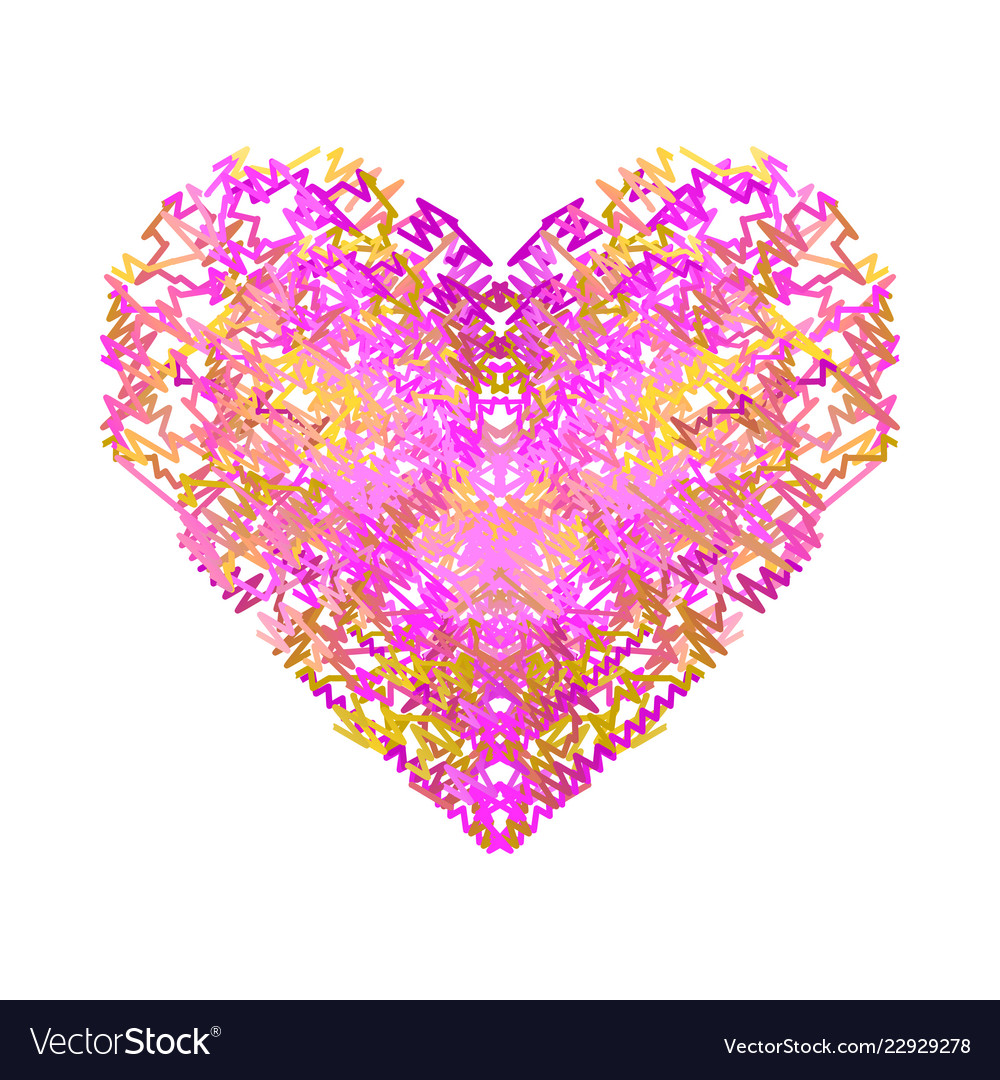 Heart of pink and yellow wavy lines valentines
