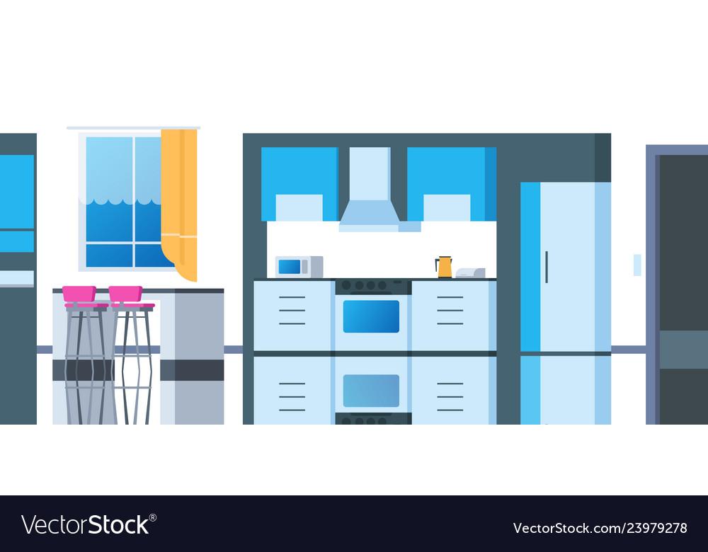 Kitchen cartoon interior house flat room with