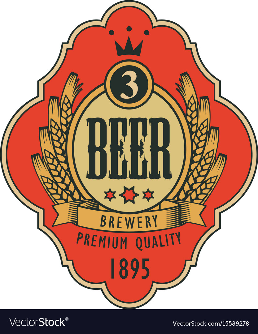 Label for beer with coat of arms in curly frame