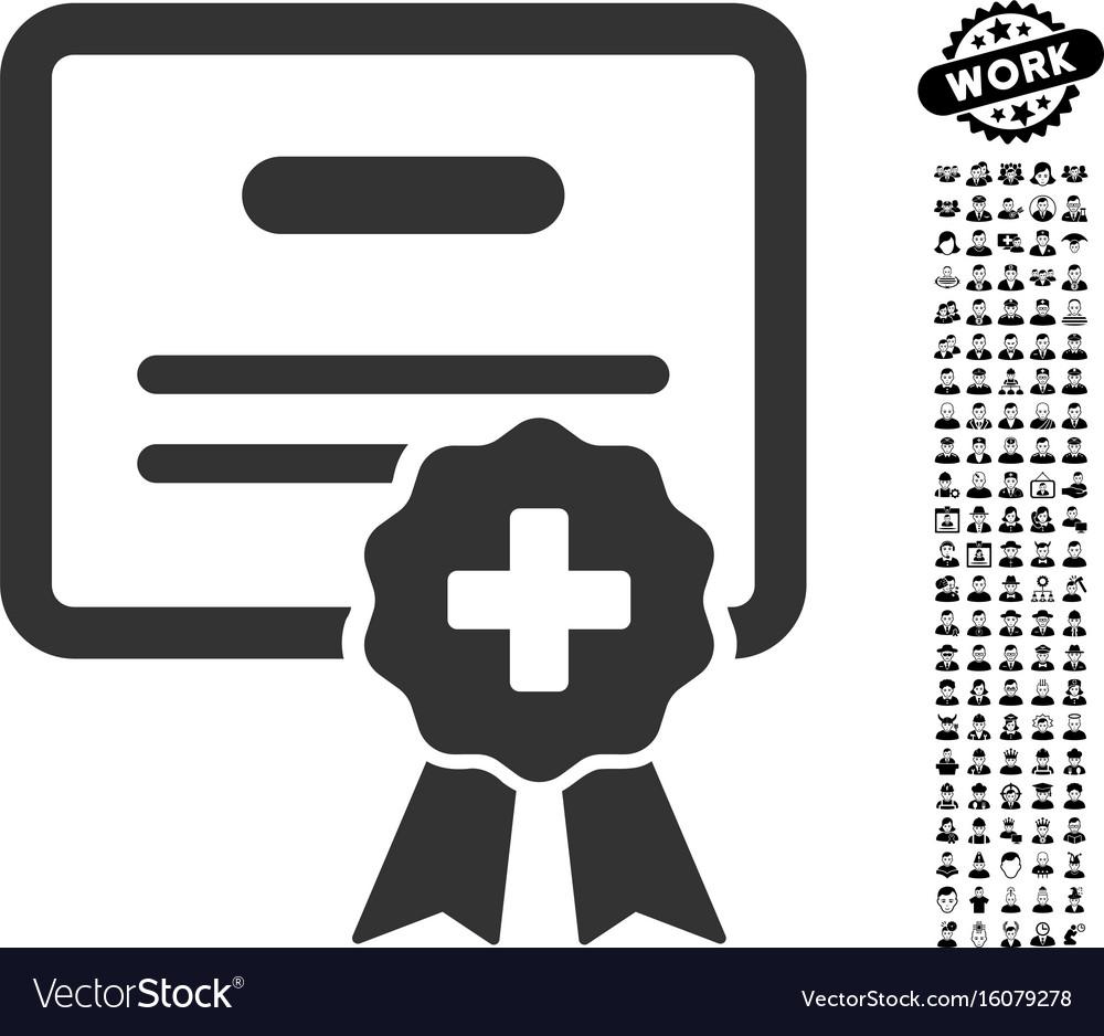 Medical Certification Icon With Job Bonus Vector Image
